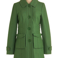 Tulle Clothing Senior Copy Writer Coat in Grass | Mod Retro Vintage Coats | ModCloth.com
