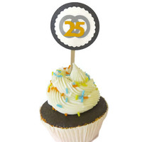 25th Anniversary Cupcake Toppers - Silver Anniversary Food Picks - Set of 12