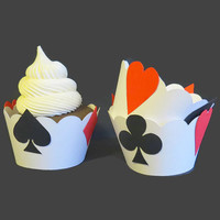 Poker Night Decorations - Card Party Cupcake Wrappers - Set of 12