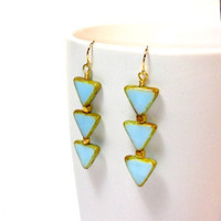 Triangles Earrings -  Blue Sky Czech glass triangle earrings