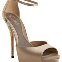 Gucci taupe satin 'Sofia Etoile' platform ankle strap sandals at Bluefly
