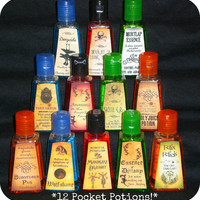 Twelve Different Harry Potter Inspired Anti-bacterial Hand Sanitizers in Mini Potions Bottles