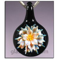 SALE - Lampwork Pendant - Glass Flower Boro Focal Bead - Hand Blown Glass Jewelry by Allison Hill (3834)