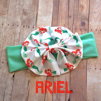 Little Mermaid Ariel Messy bow mint Head wrap headband