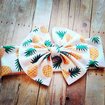 Pineapple Messy Bow Head Wrap