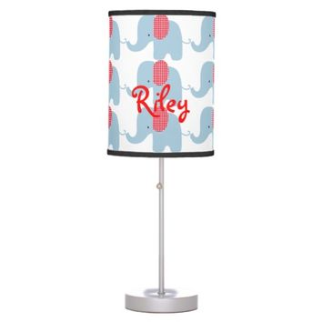 Blue and Red Baby Elephant Table Lamp