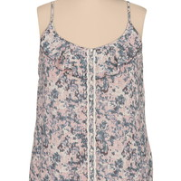 floral print plus size tank with crochet trim