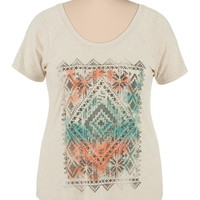 multi color diamond plus size graphic tee