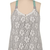 lace front colored strap plus size swing tank