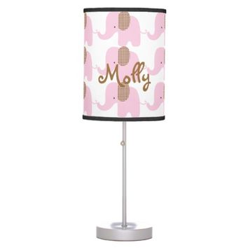 Pink and Chocolate Baby Elephant Table Lamp