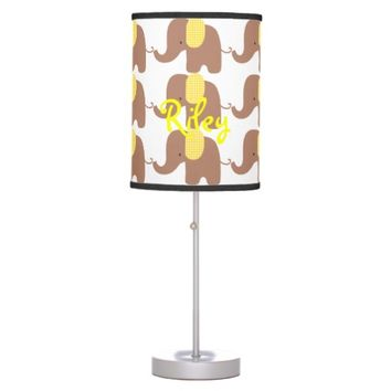 Chocolate and Yellow Baby Elephant Table Lamp