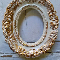 VIntage oval ceramic frame grouping small shabby chic cream and gold wall decor Anita Spero