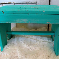 Aqua foot stool bench shabby chic, turquoise farmhouse handmade vintage wood decor Anita Spero