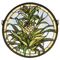Meyda Tiffany Fruit Welcome Pineapple Medallion Stained Glass Window - 48550