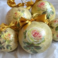 White Roses Christmas Baubles