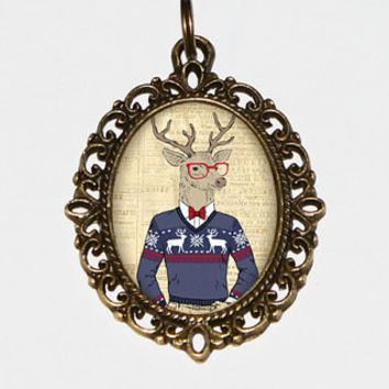 Deer Ugly Christmas Sweater Necklace Oval Pendant
