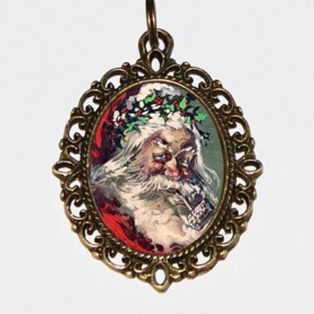 Santa Smoking Pipe Necklace Oval Pendant