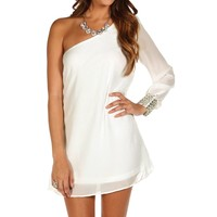 Ivory Single Sleeve Embellished Dress