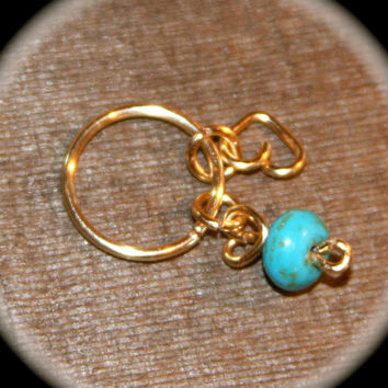 Turquoise Heart Cartilage Earring, Nose Hoop, Helix Hoop, Nose Rings, Cartilage Earrings, Piercing Jewelry