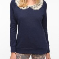 Pins And Needles Crochet Collared Sweatshirt