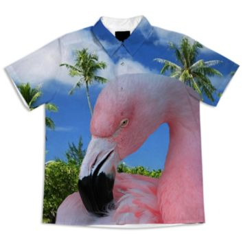 Pink Flamingo and Tropical Beach Short Sleeve Blouse created by ErikaKaisersot | Print All Over Me