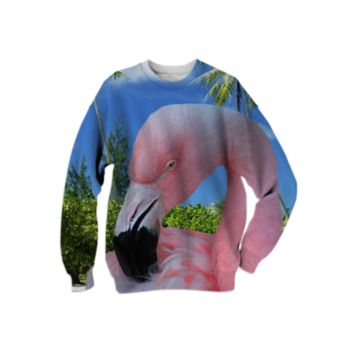 Pink Flamingo and Tropical Beach Sweatshirt created by ErikaKaisersot | Print All Over Me