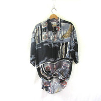 vintage silk shirt. abstract graphic shirt. short sleeve top. pocket shirt.
