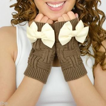 Caramel Fingerless Mittens knit knitted ivory beige bow gloves arm warmers cute