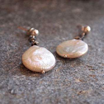 Dangling White Round Coin Pearl Earrings