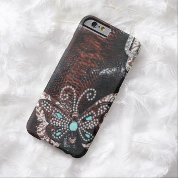 Faux Snakeskin with Butterfly Bling iPhone 6 Case