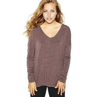 Striped Drop Shoulder Tunic Tee