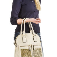 metallic stud pocket satchel