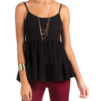TIERED STRAPPY BABYDOLL TOP