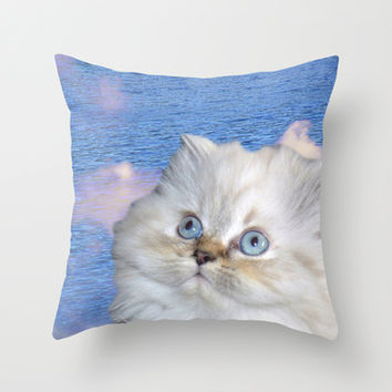 White Cat and Water Throw Pillow by Erika Kaisersot