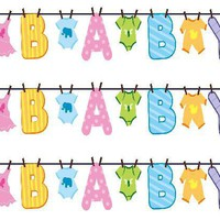 Baby Shower Clothesline Edible Image Cake Borders by DecoPac 3 Strips by SweetnTreats on Zibbet