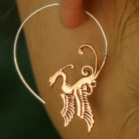 Phoenix Hoop Earrings - Copper and Sterling Silver