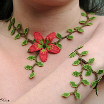 Embroidered necklace, Turkish lace choker red flower lime green leaf, necklace, crochet, authentic, oya, victorian, silk fiber art jewelry