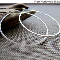 Elegant Flat Hoops - Sterling Silver Hoop Earrings by Nadin