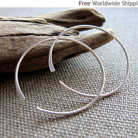 Open Hoops - Sterling Silver Hoop Earrings by NadinArtDesign