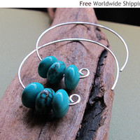 Open Hoops with Turquoise Gemstones - Sterling Silver Hoop Earrings