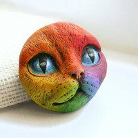 Rainbow Cat Art Doll Face Cab Kitty Animal Pet Bright Colorful Polymer Clay Cabochon roygbiv Blue Purple Red Orange Yellow 2643