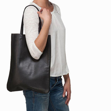 Black tote, women leather bag by Leah Lerner