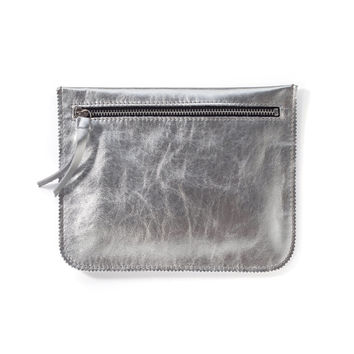 Silver leather pouch, leather wallet, small purse by Leah Lerner