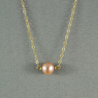 Beautiful Freshwater Pearl Necklace,14K Gold Filled Chain, Simple, Gorgeous, Wonderful Jewelry