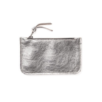 Silver leather coin purse by Leah Lerner