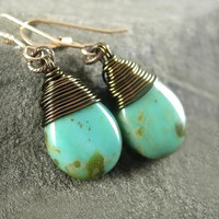 Turquoise Earrings Czech Blue Green Glass Antique Brass Blue Earrings 14K Gold Fill December Birthstone