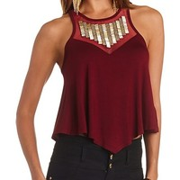 BEADED MESH BIB SWING CROP TOP