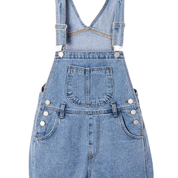 Light Blue Dungaree with Pocket Front - Choies.com