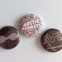 arctic monkeys pinback buttons (set of 3)