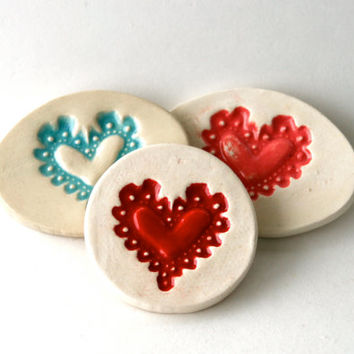 Lacy Heart Magnet, Love Letter, Gift in Aqua, Handmade Stamped Pottery, Home Decor, French Country Style
